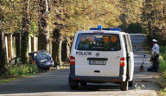 Opilý řidič narazdil do zdi zámeckého parku.