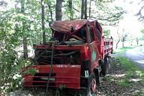 Řidič s nákladním automobilem plným štěrku narazil v Rabštejnské Lhotě do stromu.