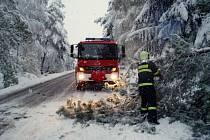 Sněhová kalamita zaměstnala hasiče i na Hlinecku