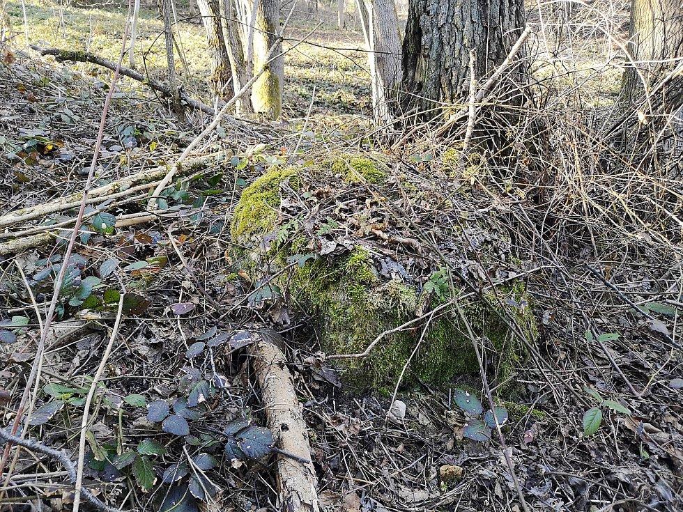 Trojmezí borské zobrazuje čtyřhranný kámen přírodního původu.