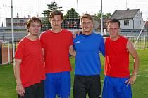 Sébastien Langr (druhý zprava) autor úvodní branky. Na snímku s ostatními střelci (zleva): Haufem, Sixtou a Opinou.
