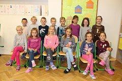 Žáci první třídy Základní školy Morašice, kterou vede paní učitelka Helena Salfická.