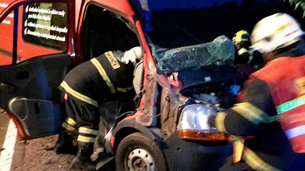 Nehoda dodávky u Hlinska.