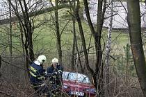 Auto se zarazilo až o stromy ve dvou třetinách stráně.