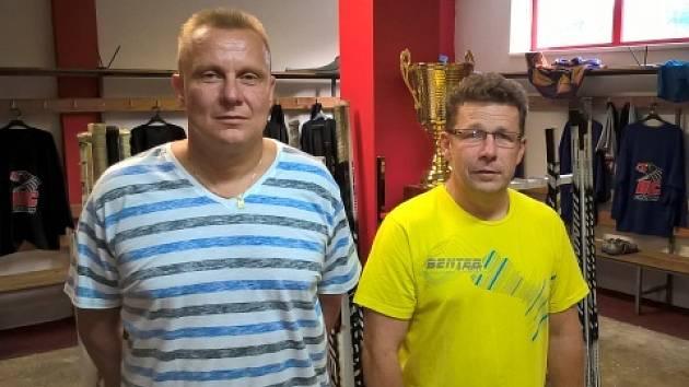 Nové trenérské duo trenérů chrudimských hokejistů, René Seidler (vlevo) a Jiří Polák