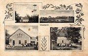Kaplička ve Vranově na dobové pohlednici z roku 1915.