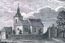 Gothardský kostelík na kresbě z roku 1818.