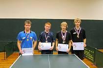Nejlepší dorostenci, stolní tenisté  Roman Růžek (Nová Paka), Lukáš Havránek (Jičín), Filip Klejch (L. Bělohrad) a Tomáš Vydra (Nová Paka).