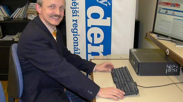 Jiří Vitvar v naší redakci při online rozhovoru.