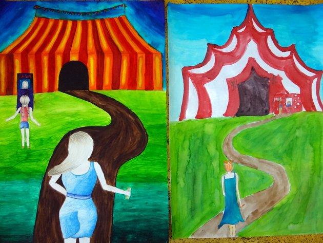 Mladí výtvarníci malovali na téma Cirkus.