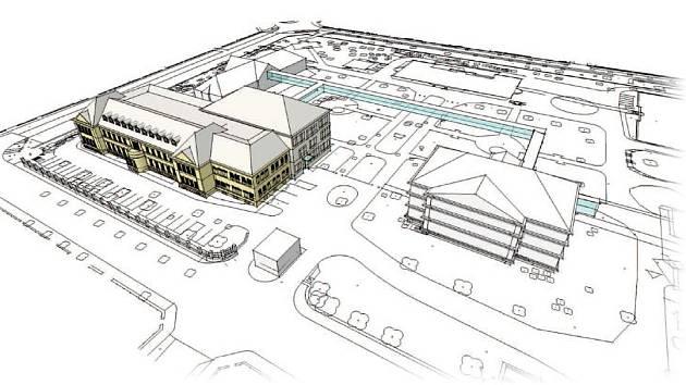 Projekt na rekonstrukci v areálu nemocnice.