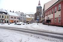 Sníh v centru Jičína