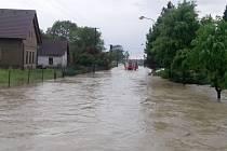Záplavy u Třebechovic.