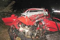 Z místa tragické dopravní nehody.