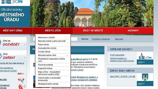 Web města Jičína.