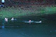 Koupání otužilců na koupališti Pelíšek v  Prachovských skalách se stalo tradicí a setkáním vyznavačů zimního plavání na Štědrý den dopoledne.