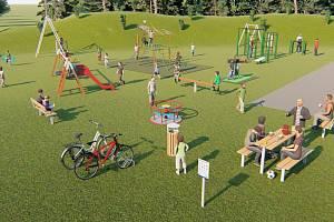 Vizualizace možné podoby nového dětského hřiště v Mlázovicích.