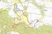 Plánek zamýšlené vodní nádrže Hořice.