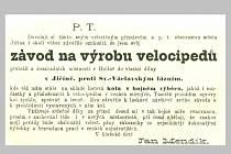 DOBOVÁ REKLAMA na podnik Jana Mendíka z roku 1899. Upozornění na přeložení továrny do Jičína.