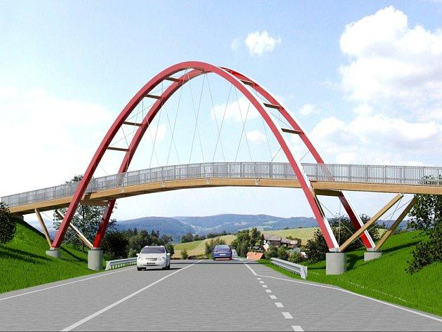 Vizualizace lávky pro pěši a cyklisty přes silnici R35 u Hořic