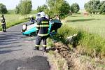 Dopravní nehoda u Libošovic - na železničním přejezdu se střetl osobní automobil s vlakem.
