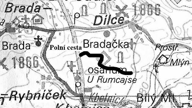 Mapka předpokládaného umístění pomníku.