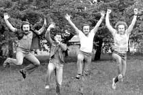 Skupina Diskant, začátky, rok 1982. Zleva František Brunclík, Jaroslav Špička, Vladislav Fanta, Miroslav Horna.