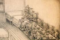 Kresba Adolfa Mádle štědrovečerní večeře v novopackém chudobinci.
