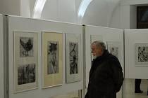 Z vernisáže výstavy obrazů Jaroslava Klápštěho.
