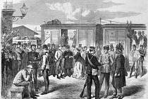 K přepravě vojska sloužily vojenské vlaky.