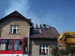 Dům v Kopidlně po požáru.