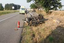 V Bašnicích skončil automobil mimo vozovku.