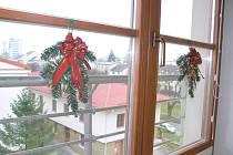 Vánočně vyzdobená okna jičínské porodnice.