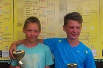 FINALISTÉ dvouhry starších žáků David Hozák (vlevo) a Michal Batlička. Oba také ovládli čtyřhru této kategorie.