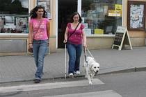 BLANKA STARÁ na novopackém náměstí se svoji Karmelou, která ji bezpečně navádí na přechod pro chodce.