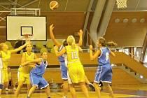Snímek z utkání basketbalistek Nové Paky s Přeloučí. S číslem 12 v akci novopacká Martina Urbanová.