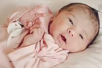 Jmenuji se Adélka Šimberská a narodila jsem se 22. února s váhou 3,35 kg a 50 cm. Radost dělám rodičům Michaele a Patrikovi z Nových Smrkovic. Foto: archiv rodiny