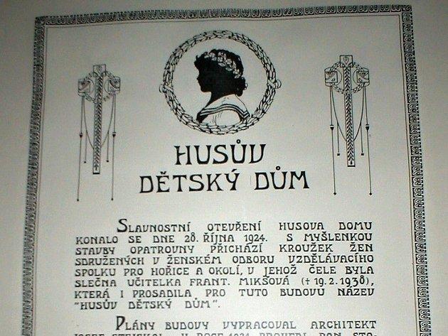 Historie hořické budovy dnešní MŠ Na Habru.