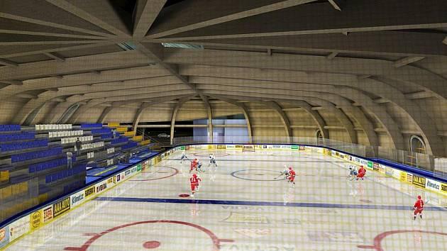 Vizualizace jičínského zimního stadionu se zastřešením.