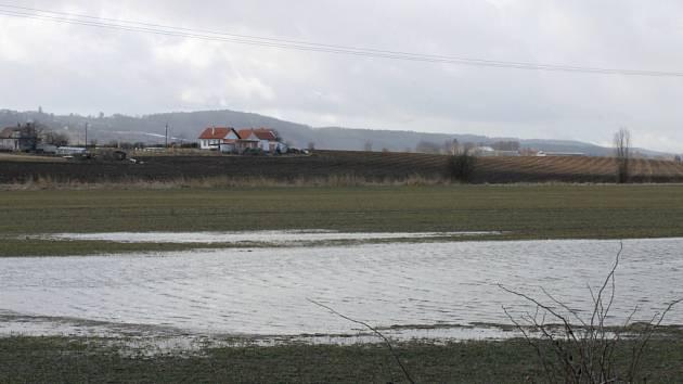 Zaplavené louky na Jičínsku.