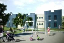 Původní vizualizace stavby nové MŠ na Větrově.
