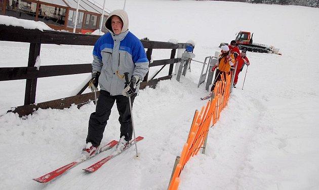 První lyžaři v Orlických horách.