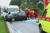 Z tragické nehody u Libuně.