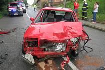 Střet dvou automobilů v Bystřici.
