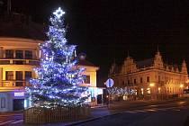 Vánoční strom na bělohradském Malém náměstí.