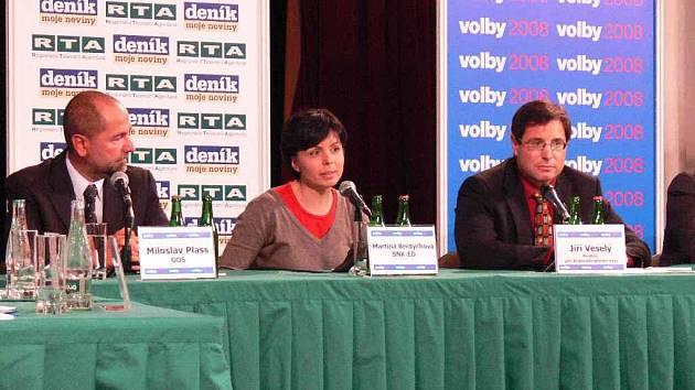Miloslav Plass (zleva), Martina Berdychová a Jiří Veselý.