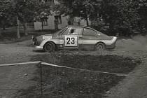Se Škodou 130 na Jičínsku při Rallye Škoda 1981.