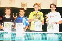 Nejúspěšnější mladší žáci – zprava Tomáš Purkrábek, Adam Forgač, Jakub Fejfar, Jan Jína. Chybí Michal Douša a Tomáš Odvárko.