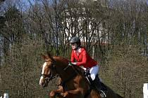 Vítězka parkuru stupně L - Tereza Veselá s koněm Graf Livio z SK Hůrka Libchavy.