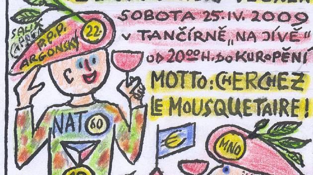 Grafika Emanuela Bosáka - pozvánka na 72. důstojnický večírek.
